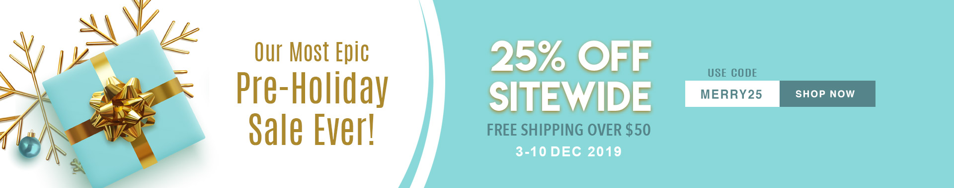 Let the Christmas Sale Begin! 25% Off on Everything