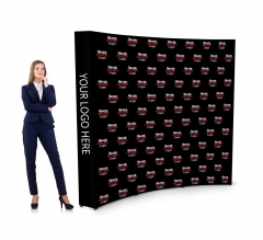 8 ft x 8 ft Step and Repeat Fabric Pop Up Curved Display
