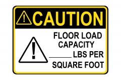 ANSI CAUTION Floor Load Capacity Per Square Foot Sign