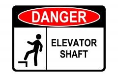 ANSI DANGER Elevator Shaft Sign