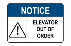 ANSI NOTICE Elevator Out Of Order Sign