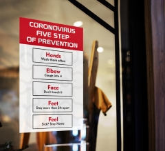 Coronavirus Five Steps of Prevention Window Clings