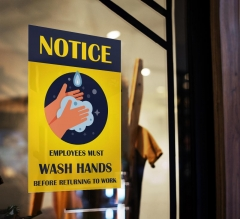 Notice Employees Must Wash Hands Window Clings