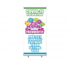 Covid-19 Prevention Wash your Hands Roll Up Banner Stands