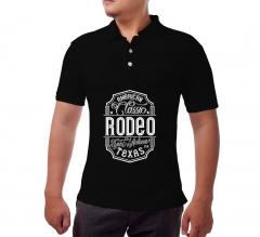 Black Cotton Polo Shirt- Printed