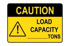 OSHA CAUTION Custom Load Capacity - Tons Sign