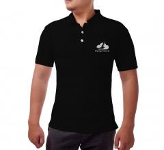 Black Cotton Polo Shirt - Embroidered