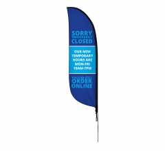 Pre-Printed Temporary Closed Order Online Feather Flag
