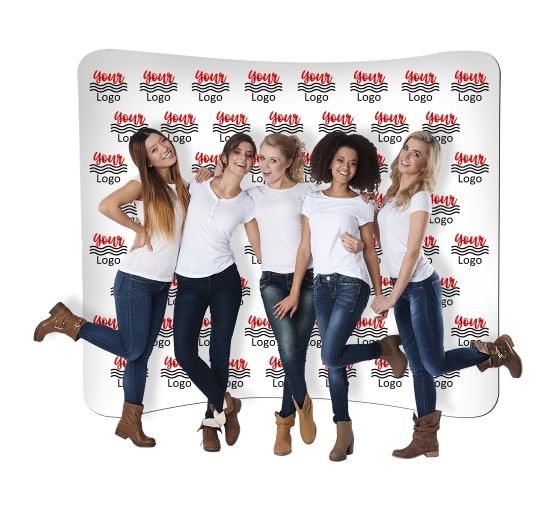 10 ft x 8 ft Step and Repeat Curved Pillow Case Backdrop