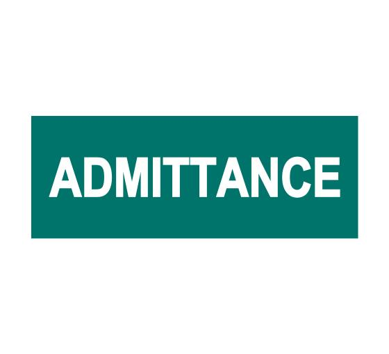 Admittance Sign