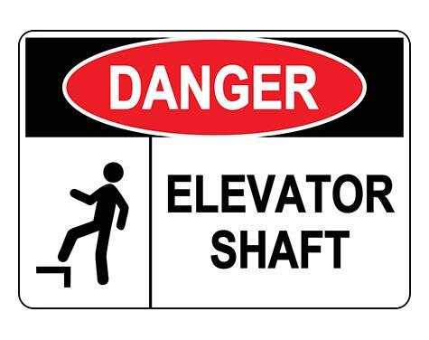 ANSI DANGER Elevator Shaft Sign