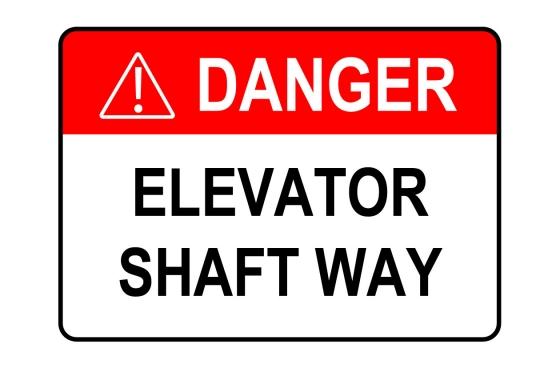 ANSI DANGER Elevator Shaft Way Sign
