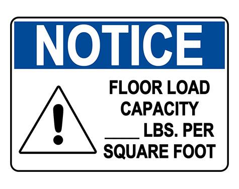 ANSI NOTICE Floor Load Capacity Sign