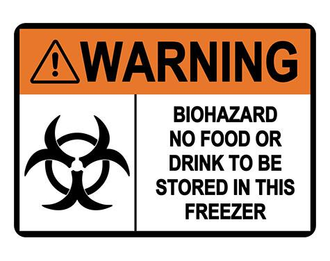 ANSI WARNING Biohazard No Food Or Drink Sign