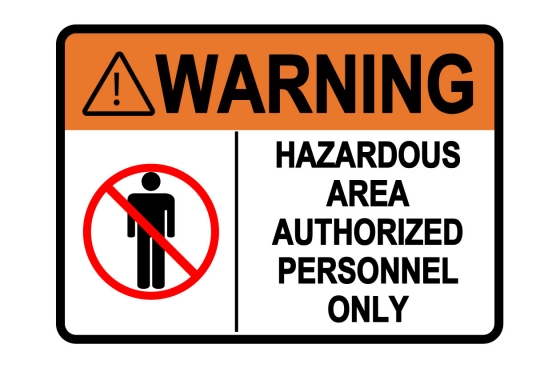ANSI WARNING Hazardous Area Authorized Personnel Only Sign