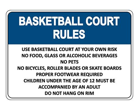 Basketball Court Rules Sign With Symbol Sign