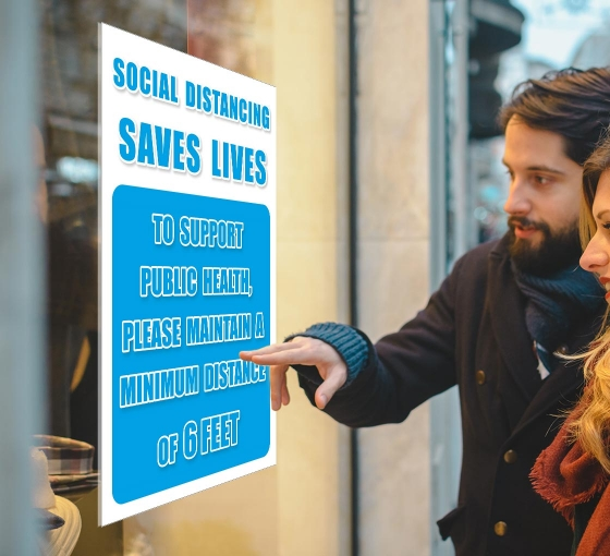 Social Distancing Saves Lives Window Decals