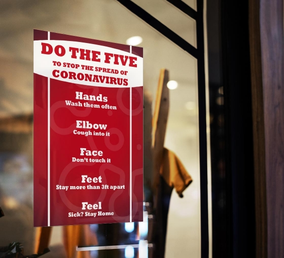 Do the Five To Stop Spread Coronavirus Window Clings