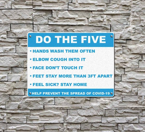 Do the Five Help Prevent Covid-19 Spread Compliance signs