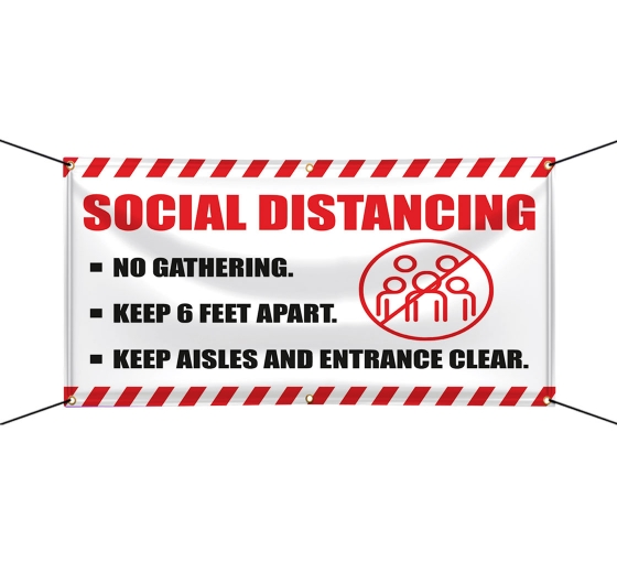 Social Distancing No Gathering Vinyl Banners