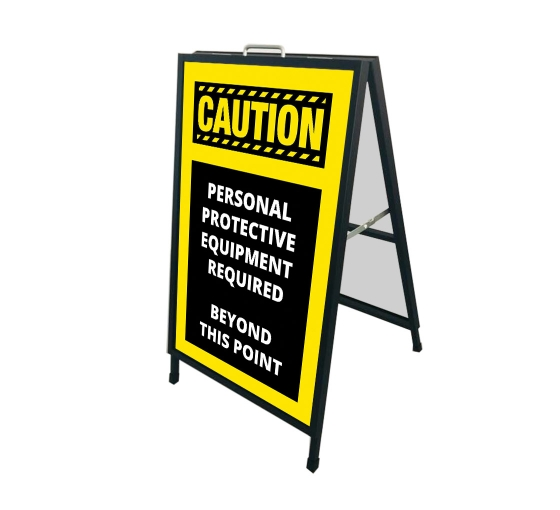 Caution Personal Protection Equipment Required Beyond this Point Signicade Black