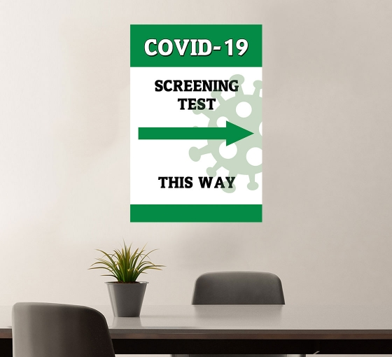 Covid-19 Screening This Way Vinyl Posters