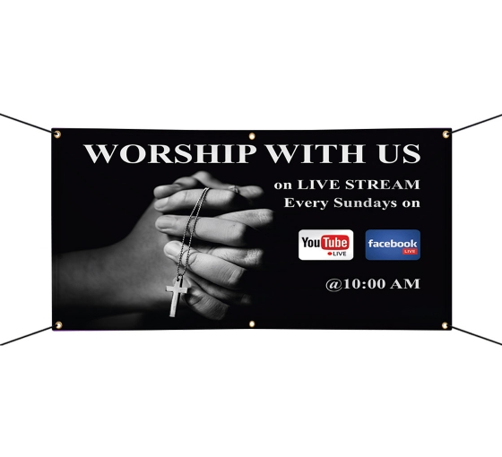 Worship with Us on Livestream Vinyl Banners