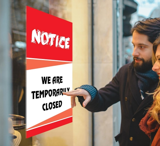 We are Temporary Closed Window Decals
