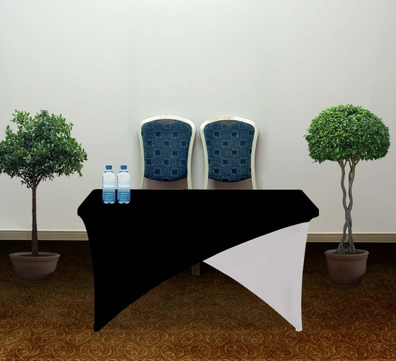 4' Cross Over Table Covers - Black & White