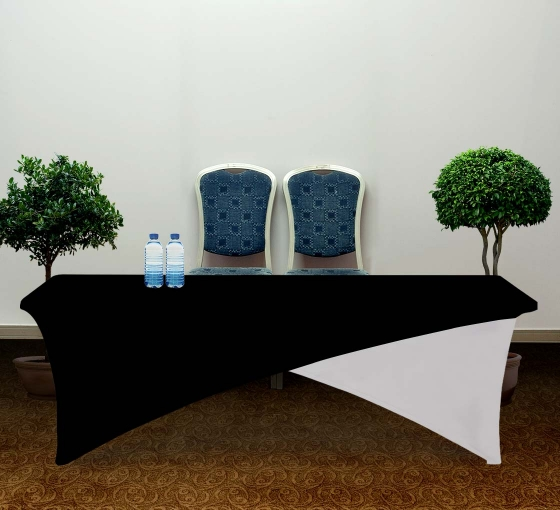 8' Cross Over Table Covers - Black & White