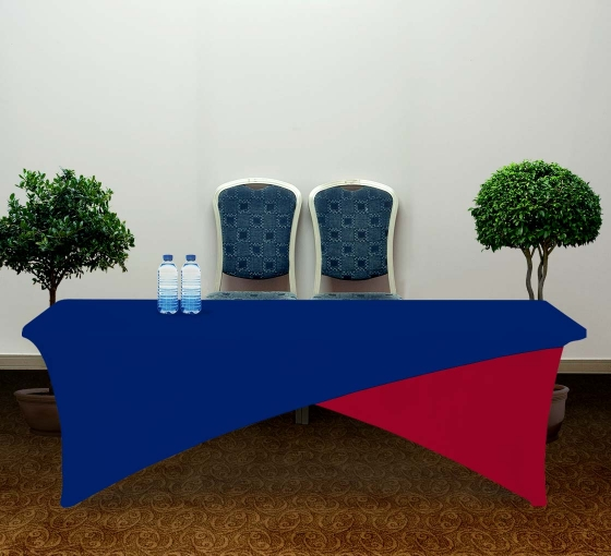 8' Cross Over Table Covers - Blue & Red