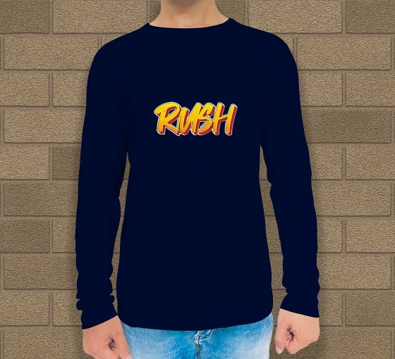 Custom Blue Printed Long Sleeves T-Shirt - Crew Neck