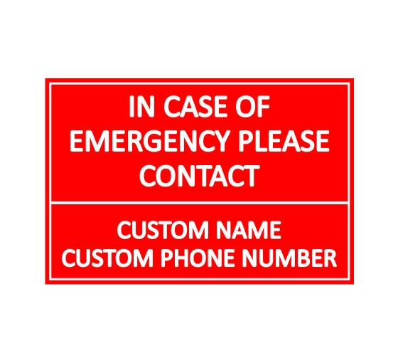 Emergency Number Sign