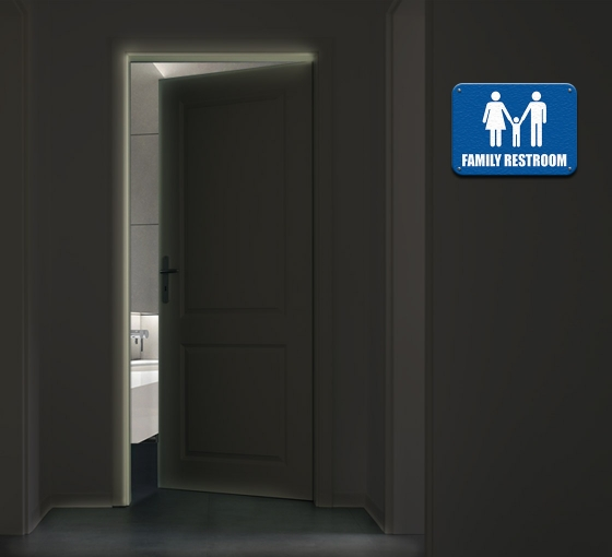 Reflective Family/Child Care Restroom Signs