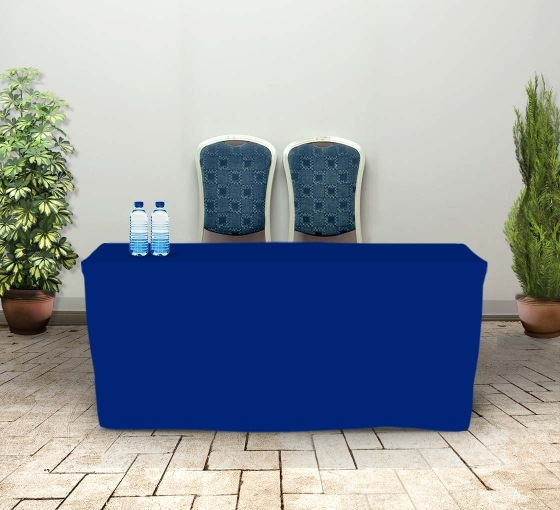 6' Fitted Table Covers - Blue - 4 Sided