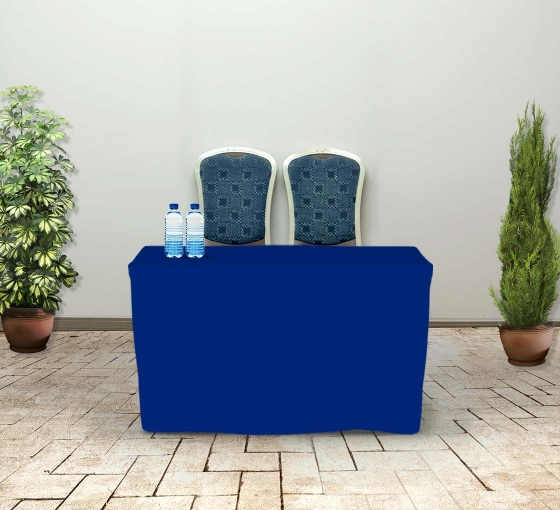 4' Fitted Table Covers - Blue - Zipper Back