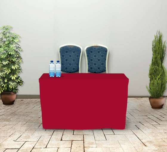 4' Fitted Table Covers - Red - 4 Sided