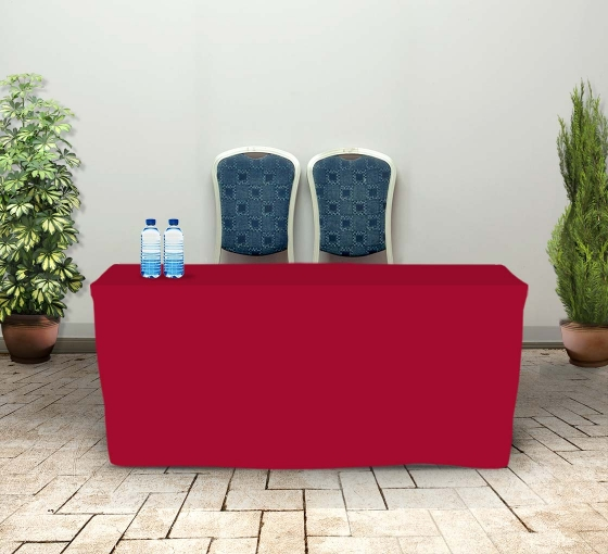 6' Fitted Table Covers - Red - 4 Sided