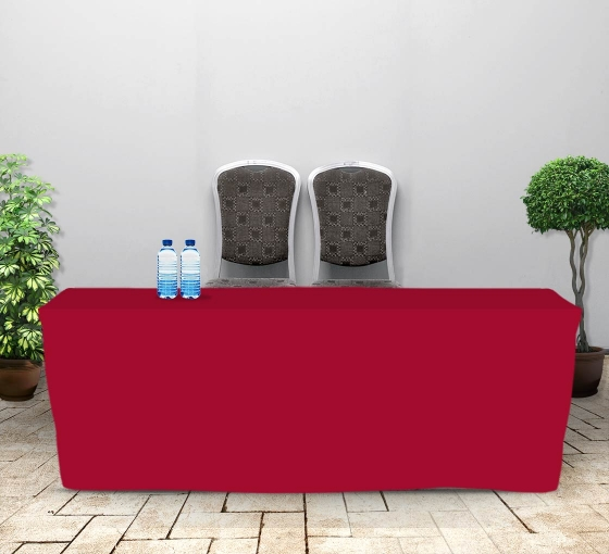 8' Fitted Table Covers - Red - 4 Sided