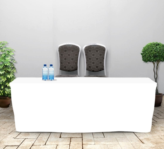 8' Fitted Table Covers - White - 4 Sided