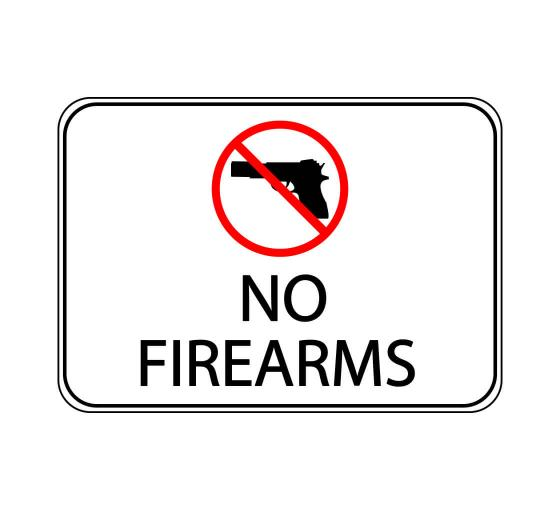No Firearms Label Sign