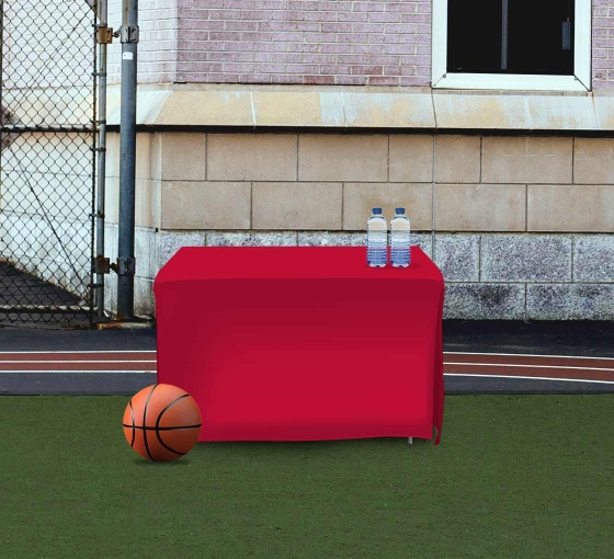 4' Open Corner Table Covers - Red