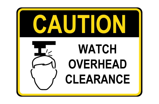 OSHA CAUTION Watch Overhead Clearance Sign