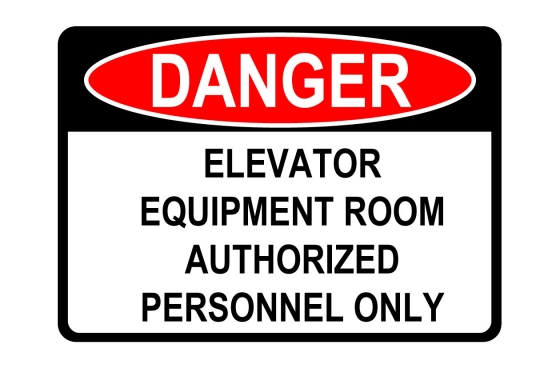 OSHA DANGER Elevator Equipment Room Sign
