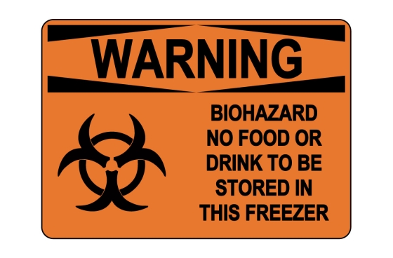 OSHA WARNING Biohazard No Food Or Drink Sign
