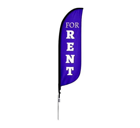 Pre-Printed For Rent Feather Flag