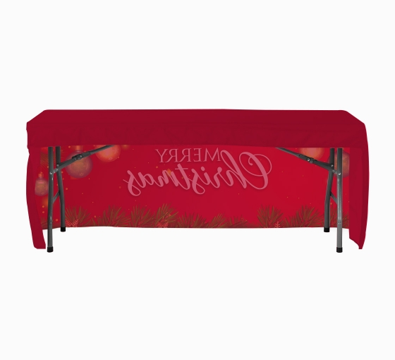 Personalized Table throw Stock 6 3 sided Black with 2 Color Logo Print