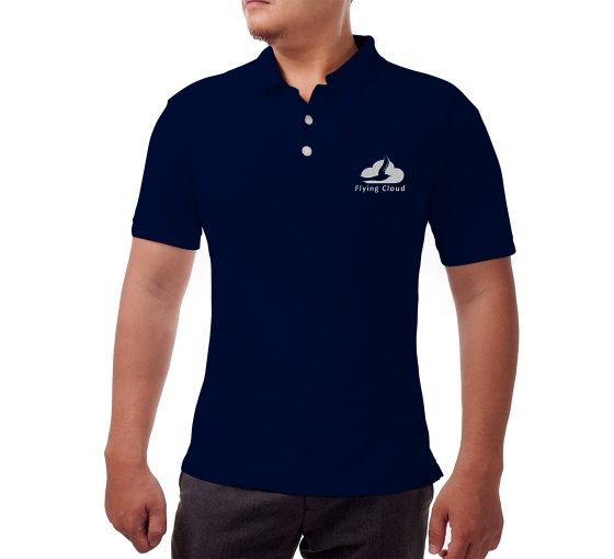 Blue Cotton Polo Shirt - Embroidered