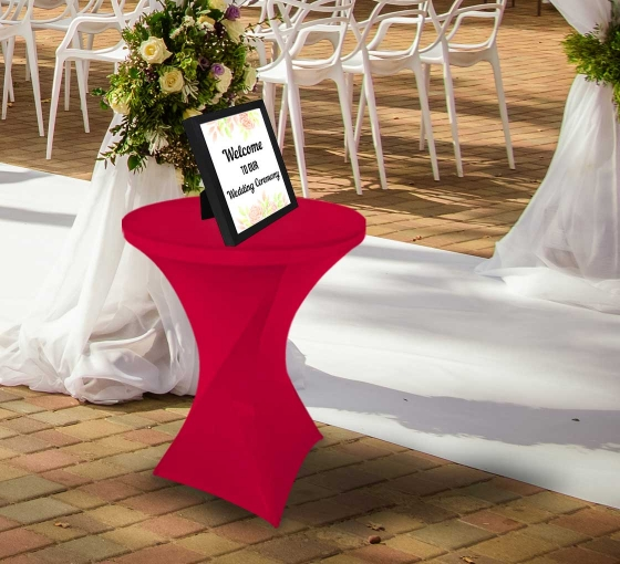 31.5'' Round Stretch Table Covers - Red