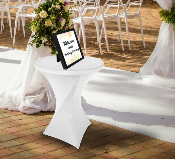 31.5'' Round Stretch Table Covers - White